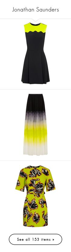 """""""Jonathan Saunders"""" by alyssa23 ❤ liked on Polyvore featuring dresses, vestidos, yellow, yellow and other, yellow pleated dress, jonathan saunders, scallop trim dress, crepe dress, yellow dress and skirts"""
