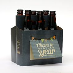 Cheers to Another Year | Birthday Beer Gift Box | Such a cute gift idea for guys!  Makes gifting beer easy - and stands out!   Beer Greetings Six-Pack Carriers + Greeting Cards in One.