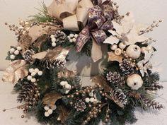 White Christmas Wreath Harvest Wreath by TreasureiTbyDonna on Etsy