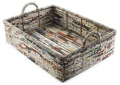 Recycled newspapers become functional art for the home. Beautiful weaved design is sturdy enough for a full load of magazines or newspapers with splashes of color to add visual interest to any room. http://www.3flat.com $99