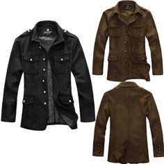 35.89   Men s Jackets Stand Collar Jacket Coat Slim Thin Woolen Overwear  via martEnvy. Click 94ad11e5e65
