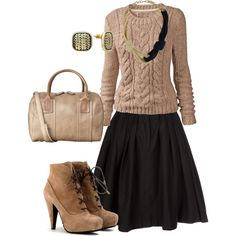 Sweater, Skirt, and Booties = love
