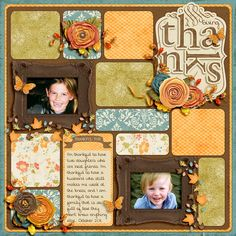 "Sweet ""Giving Thanks"" Scrapping Page...using squares of multi-colored paper. jacinda? - Sweet Shoppe Gallery."
