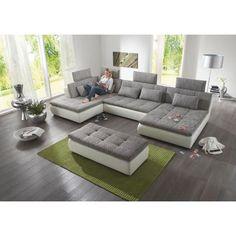 WOHNLANDSCHAFT in Grau, Weiß Textil - Wohnlandschaften - Polstermöbel…