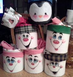 Christmas goodie containers  (pumpkin cans or baby formula tins wrapped in flannel or felt)