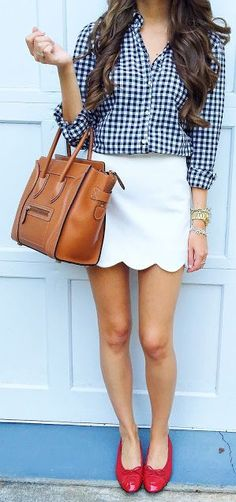 White Scallop Skirt Outfit Idea by Southern Curls and pearls