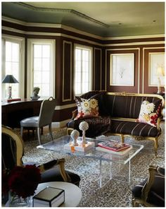 Animal Print Rug, Sets Off Stylish Striped Settees And That Green Ceiling ~  Ken Fulk Design