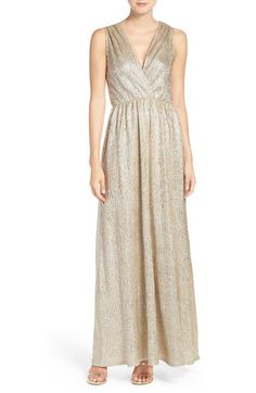 Main Image - Lulus Surplice V-Neck Sleeveless Shimmer Gown Gold Lace Dresses, Gold Bridesmaid Dresses, Bridesmaids, Bridesmaid Ideas, Wedding Dresses, Party Dresses, White V Neck Dress, White Ball Gowns, Bridesmaid Inspiration