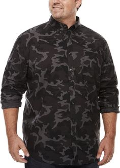 THE FOUNDRY SUPPLY CO. The Foundry Big & Tall Supply Co. Button-Front Shirt-Big and Tall Mens Big And Tall, Big & Tall, Camouflage, Buttons, Long Sleeve, Mens Tops, Stuff To Buy, Shirts, Clothes