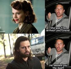 Peggy was a strong women who moved on without Steve although it hurt her. Bucky had been through hell and needed his friend to help him but Steve disappeared. He should have stayed with Bucky Avengers Humor, Funny Marvel Memes, Marvel Jokes, Marvel Dc Comics, Marvel Heroes, Marvel Avengers, Marvel Films, Marvel Characters, Best Marvel Movies