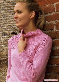 Пуловер с кокеткой и регланом, свитер.