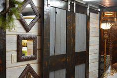 A new take on gliding barn wood doors. #BarnwoodRustics #Barnwooddoor #Reclaimedwood #HomeDecor Wood Doors, Barn Wood, Rustic, Mirror, Furniture, Home Decor, Wooden Doors, Country Primitive, Wood Gates