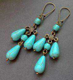 earrings with turquoise. Dangle Earrings. by TatjJewelryWithSoul