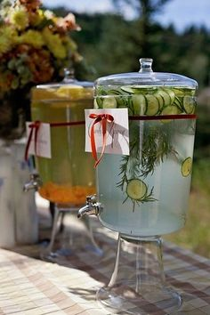 Flavored Waters: Pregnant and nonpregnant guests alike will appreciate a seasonal setup of flavored waters. Infused with fruits, vegetables, and herbs, the combination of options are endless. Try cucumber rosemary or strawberry basil!