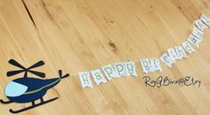 Flying Helicopter Birthday Banner on Etsy, $20.00