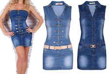 New Womens Denim Jeans Dress Sleeveless Short Mini Sexy Bodycon Tunic With Belt