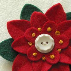 Dorothy Designs Christmas Felt Flower Pin