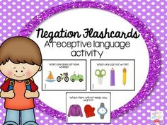 I love to use these flashcards for both assessing and teaching the concept of negation to my students. To use: print, cut, and laminate these cards flashcards included.) You can simply use these cards as flashcards or incorporate them into a game! Receptive Language, Speech And Language, Comprehension Activities, Language Activities, Data Sheets, Dry Erase Markers, Early Learning, Speech Therapy, Literacy