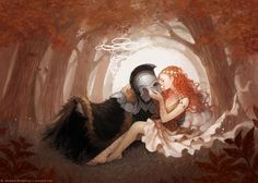 """Persephone & Hades Artwork by Janaina """" Winter's nigh and summer's o'er / I hear that high and lonesome sound / Of my husband coming for / To bring me home to Hadestown """" — Lyrics from Way Down Hadestown by Anais Mitchell Greek And Roman Mythology, Greek Gods, Romance, Hades And Persephone, Lore Olympus, Illustration, Wow Art, Gods And Goddesses, Character Art"""