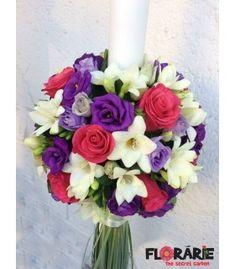 Lumanare botez trandafiri ciclam si lisianthus Terraria, Floral Wreath, Wreaths, Home Decor, Plant, Terrariums, Decoration Home, Room Decor, Bouquet