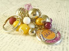 LA Lakers Beaded Key Chain or Cluster Charm design by AJewelryJar, 12.00