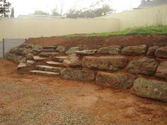 Moss rock / Blue stone rock retaining walls Adelaide