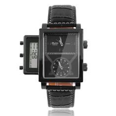 Stainless steel quartz movet watch Cool Oversized Two Analogue Clocks with Digital Display WristWatch Sale