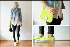 neon purse to match neon shoes