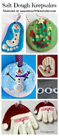 Christmas handprint, footprint and fingerprint Keepsakes made from salt dough. Simple ornaments made by toddlers and preschooler handprint, footprint and fingerprint Keepsakes made from salt dough. Simple ornaments made by toddlers and preschoolers Kids Crafts, Christmas Crafts For Toddlers, Preschool Christmas, Baby Crafts, Toddler Crafts, Holiday Crafts, Christmas Toddler Activities, Christmas Handprint Crafts, Summer Crafts