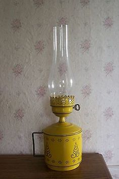Vintage Toleware Lamp in a Mustard Golden Yellow for Wall or Table