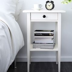 IKEA - HEMNES, Bedside table, white stain, Smooth running drawer with pull-out stop. Made of solid wood, which is a hardwearing and warm natural material. Combines with other furniture in the HEMNES series. Ikea Hemnes Nightstand, White Nightstand, Bedside Cabinet, Bedside Lockers, Nightstand Ideas, Unique Furniture, Home Furniture, Furniture Storage, Design Furniture