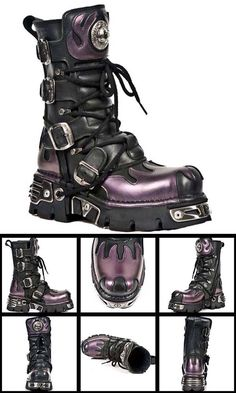 Gothic New Rock Boots Very Gothic the Purple Flame Mid Calf Boot come with . Punk Fashion, Gothic Fashion, Fashion Shoes, Fashion Black, Black Combat Boots, Mid Calf Boots, Meninos Country, Heeled Boots, Shoe Boots