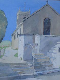 Arbory Church (Isle of Man) by Peter Robinson Urban Landscape, Landscape Art, Landscape Paintings, Unique Buildings, City Buildings, Gouache, Peter Robinson, Watercolor Pictures, Building Art