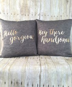 Look at this 'Hello Gorgeous' Pillow & 'Hey There Handsome' Throw Pillow Set on #zulily today!