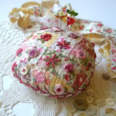 LIttle Patchwork Pincushion This is just so special. I really like it. Wonder if my old fingers would do such fine work?cj