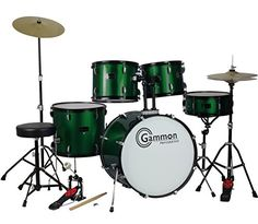 New Metallic Green Drum Set Full Size 5-Piece Kit with Cymbals Stands Throne and Sticks Gammon Percussion http://www.amazon.com/dp/B002VN8WG8/ref=cm_sw_r_pi_dp_GjnHub1T0NEB0