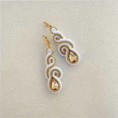 Soutache Earrings, bridesmaid gift, Gold White, Handmade Jewelry, White Earrings, Statement Earrings, Dangling Earrings, Bridal…
