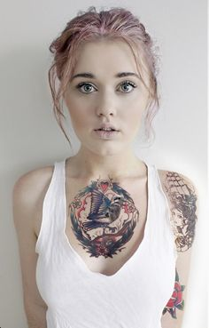 Beautiful Raven Tattoo On Girl Chest : Raven Tattoos Tattoo Girls, Girl Tattoos, Tattoos For Women, Tattooed Women, Tatoos, Hot Tattoos, Body Art Tattoos, Funny Tattoos, Tattoo Feminina