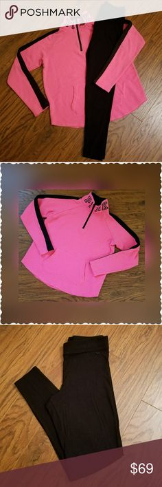 VSP Varsity Quarter Zip Pullover & VSP Leggings Excellent Used Condition!  Quarter Zip Pullover Sz Small  (Oversized)  Hot Pink with Black Details Kangaroo Pocket Arched Hem for more comfortable flattering fit!  Like New (S) VS PINK Black Legging Sz Small Well cared for!  Bundle and Save!  Please chk out my other listings  Thank you!   ~~~ Lots of VS PINK, Boutique Clothing, High end makeup, Shoes, Boots, etc & so much more to list!!! So please don't forget to follow! ~~~ PINK Victoria's…
