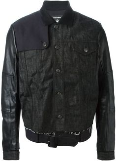 $2,785, Black Denim Jacket: DSQUARED2 Contrasting Sleeve Denim Jacket. Sold by farfetch.com. Click for more info: https://lookastic.com/men/shop_items/329926/redirect