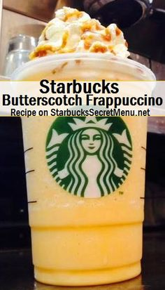 Starbucks Butterscotch Frappuccino Butterscotch isn't just a confectionery treat! It's also a delicious Frappuccino flavor that you can try by ordering this recipe! Frappuccino Flavors, Starbucks Frappuccino, Starbucks Coffee, Cream Based Frappuccino Recipe, Butterbeer Frappuccino, Starbucks Secret Menu Drinks, Starbucks Recipes, Coffee Recipes, Recipes