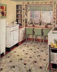 21 early interior designs by Hazel Del Brown of Armstrong Floors - Retro Renovation Home Interior, Decor Interior Design, Interior Decorating, Floor Design, Ceiling Design, 1940s Kitchen, Retro Kitchens, Farmhouse Kitchens, Vintage Kitchen