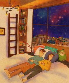 천장을 바라보며 농담을 주고 받았어요. We exchanged jokes While staring at the ceiling. 이 그림은 컬러링북에 실려있습니다. 한번 색칠해보세요! :) http://book.naver.com/bookdb/book_detail.nhn?bid=11555879