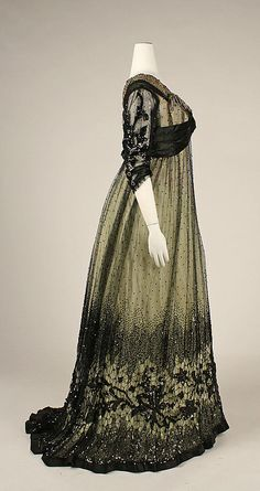 1908 ___ Dress (Ball Gown) ___ Silk, cotton, glass & metallic thread ___ American ___ at The Metropolitan Museum of Art ___ photo 2