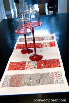 Tutorial for a Valentine's Day Table runner- quick sew, uses charm squares