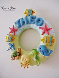 Guirlanda de tecido e feltro. Cores e panos: Fundo do Mar para o Theo | Felt Name Banner Wreath