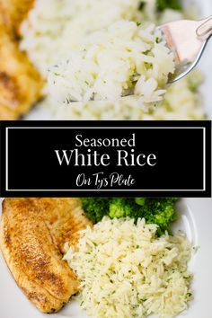 Seasoned White Rice—super easy recipe for adding tons of flavor to boring white rice using pantry ingredients. | On Ty's Plate Rice Side Dishes, Best Side Dishes, Vegetable Side Dishes, Side Dish Recipes, Lunch Recipes, Great Recipes, Recipe Ideas, Favorite Recipes, Kitchen Recipes