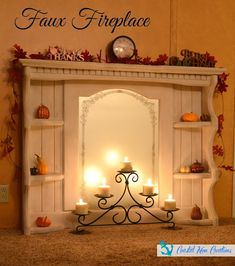 Coastal Mom Creations: Faux fireplace from an old shelf with mirror - repurposed dresser Faux Fireplace Mantels, Fireplace Design, Mantles, Fireplaces, Fake Mantle, Fireplace Whitewash, Craftsman Fireplace, Simple Fireplace, Fireplace Kitchen