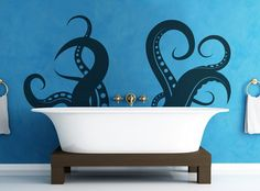 How to have fun with your home decor. If I had a claw foot tub - I would totally do this! Vinyl Wall Decal Sticker Tentacles Blue