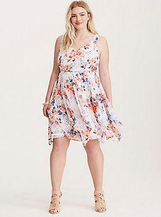 Floral Print Crinkled Chiffon Tank Dress, SOFT SERENDE